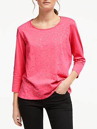 Collection WEEKEND by John Lewis Foil Leaf Cotton T-Shirt, Hot Pink/Silver