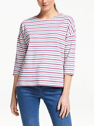 Collection WEEKEND by John Lewis Easy Drop Sleeve Breton Stripe Top, Multi