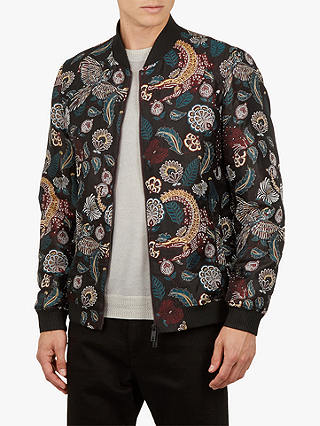Buy Ted Baker Queso Tiger Bomber Jacket, Dark Red, XXXL Online at johnlewis.com