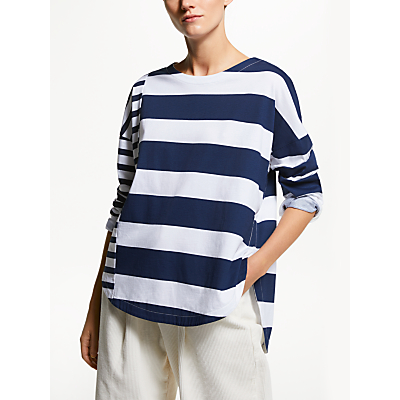 Kin Deconstructed Stripe T-Shirt, Navy/White