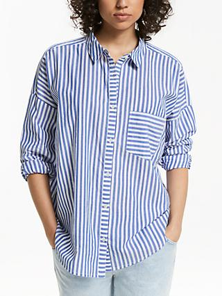 AND/OR Poppy Stripe Shirt, Blue/Ivory