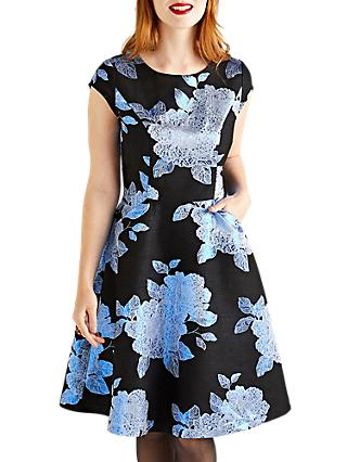 Yumi Embroidered Jacquard Prom Dress, Black