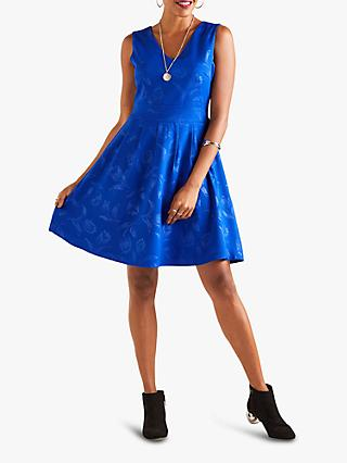 Yumi Floral Flare Lurex Dress, Blue Bright