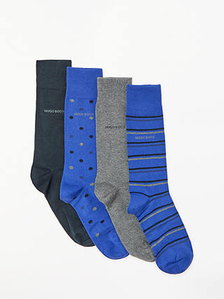 Buy BOSS Socks in a Tin Gift Set, One Size, Pack of 4, Navy/Blue/Grey Online at johnlewis.com