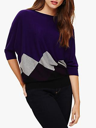Phase Eight Argyle Bat Wing Knit Jumper, Purple