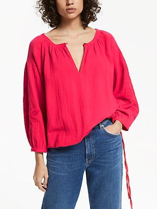 AND/OR Paige Embroidered Blouse, Pink