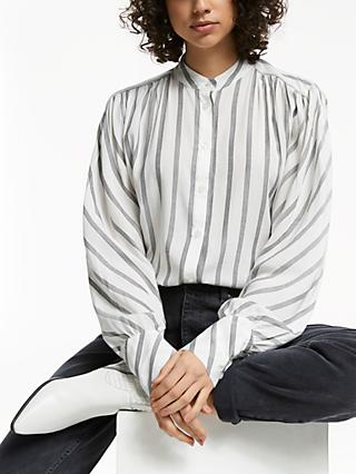 AND/OR Usher Stripe Easy Shirt, Black/Ivory