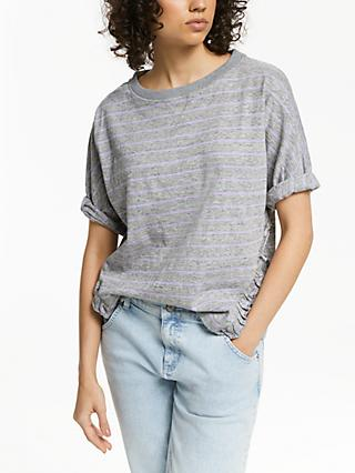 AND/OR Ruby Ruffle T-Shirt, Grey Marl/Lilac