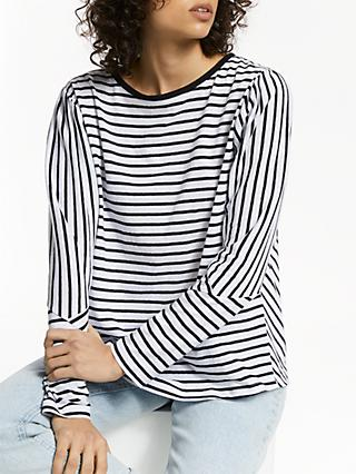 AND/OR Dolman Sleeve Cutabout Stripe T-Shirt, White/Black