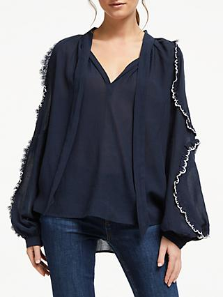 AND/OR Mirabelle Ruffle Cotton Blend Blouse, Navy Blue