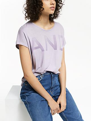 AND/OR Slogan T-Shirt, Soft Lilac
