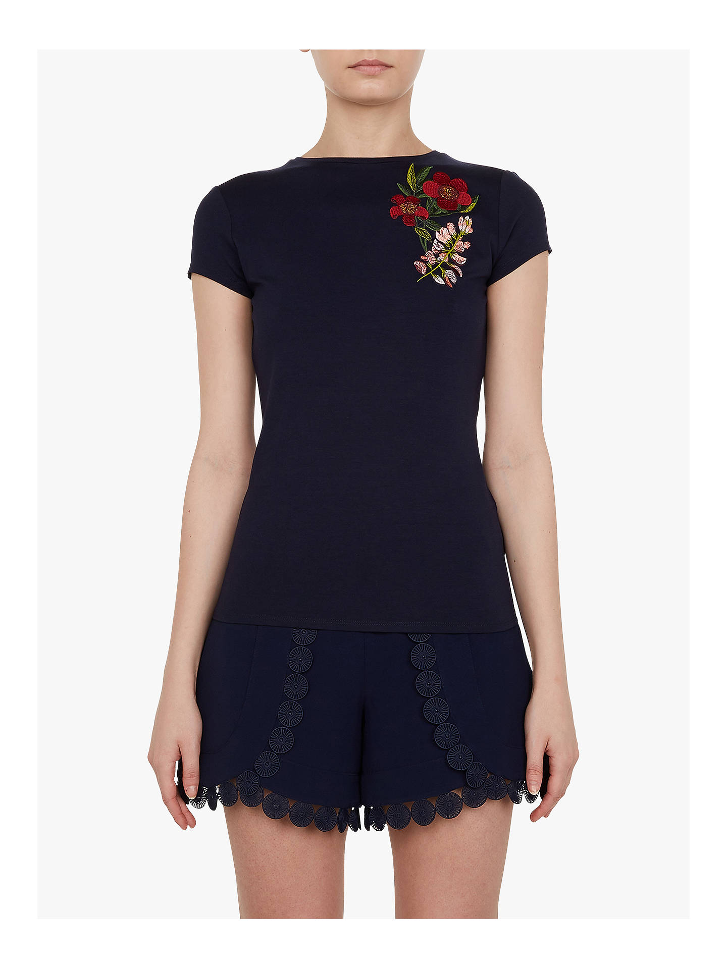 Buy Ted Baker Kirstenbosch Embroidered T-Shirt, Navy, 10 Online at johnlewis.com