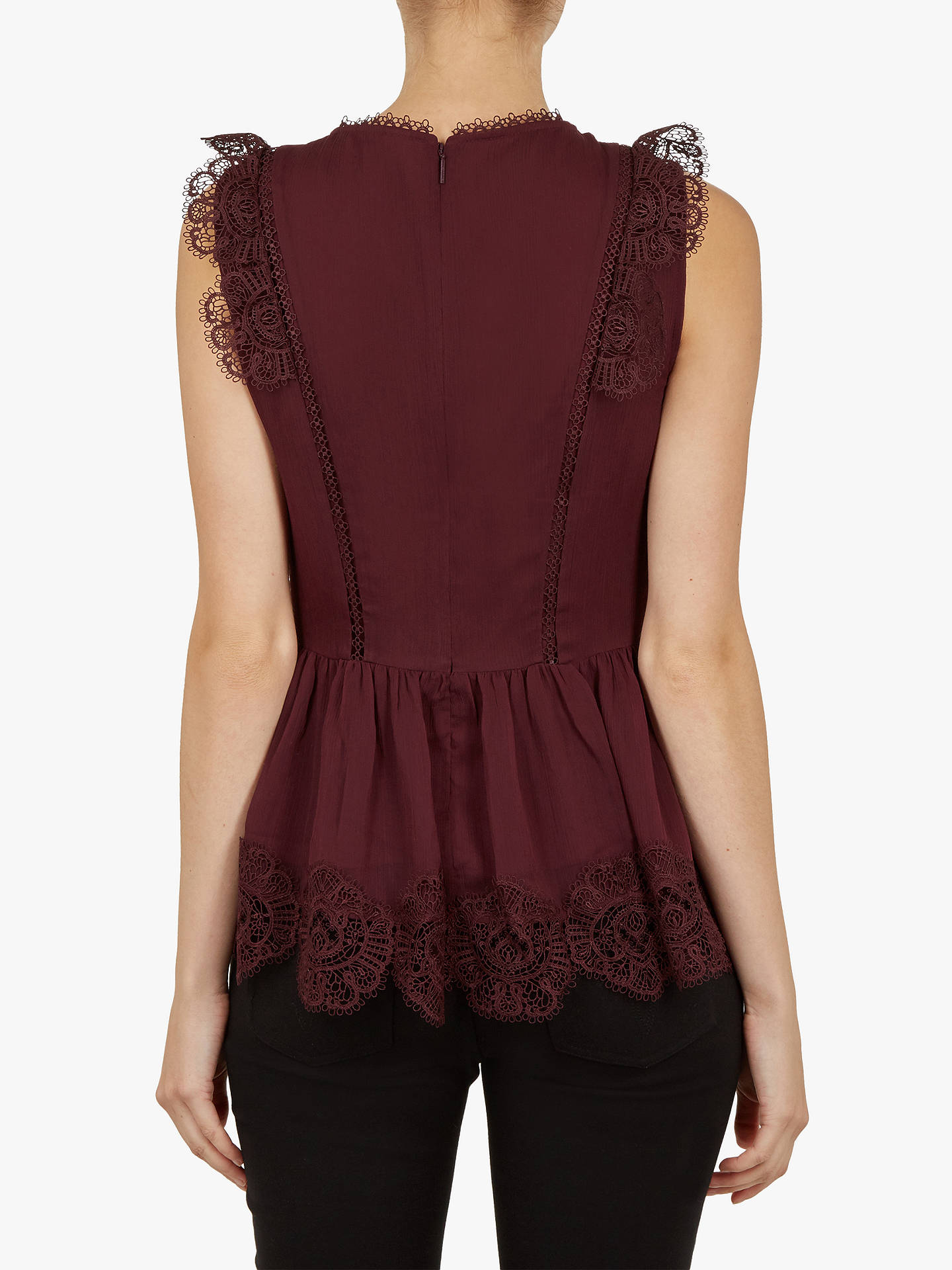 BuyTed Baker Omarri Mixed Lace Peplum Sleeve Top, Maroon, 1 Online at johnlewis.com
