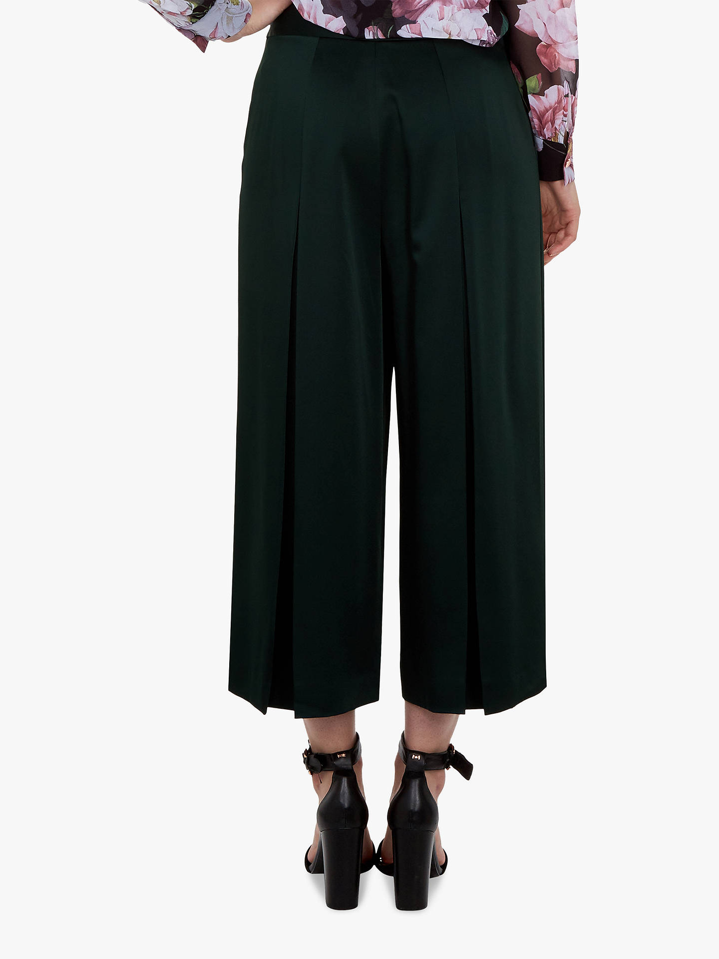 Buy Ted Baker Satin Pleat Front Culottes, Dark Green, M Online at johnlewis.com
