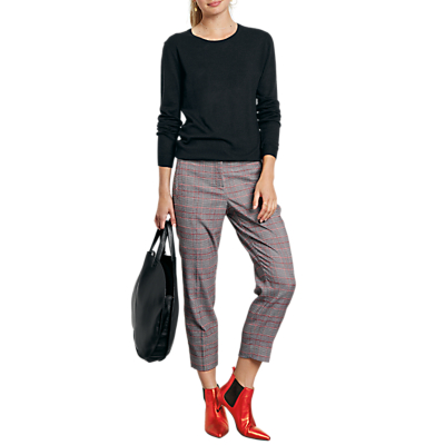 hush Cropped Check Trousers, Grey Multi