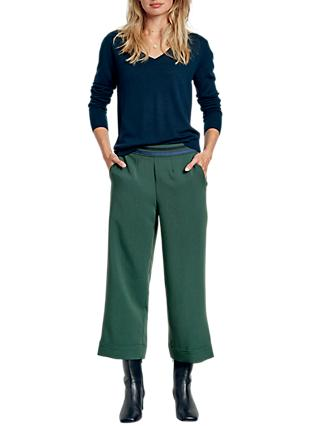 hush Stripe Waist Tailored Trousers, Dark Green