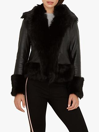 Ted Baker Harlini Shearling Leather Mix Jacket, Black