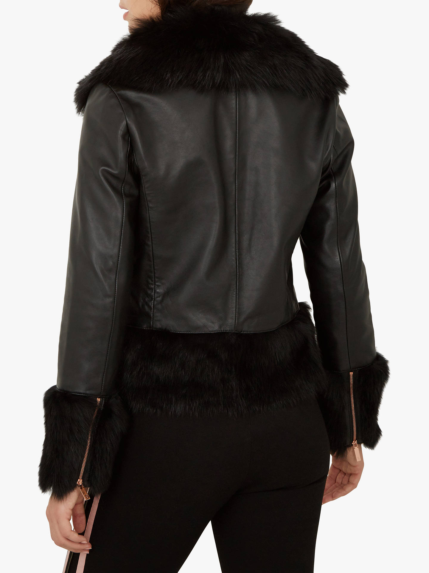 Buy Ted Baker Harlini Shearling Leather Mix Jacket, Black, XS Online at johnlewis.com
