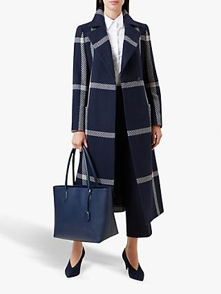 Hobbs Florina Check Coat, Navy Blonde