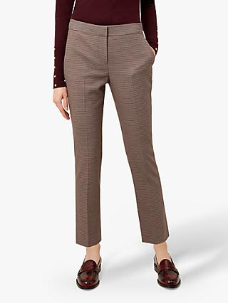 Hobbs Straight Leg Anna Trousers, Burgundy Multi
