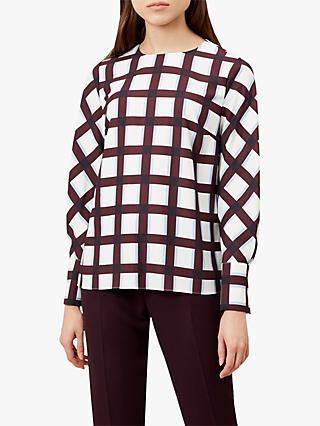 Hobbs Marie Geometric Check Top, Ivory Wine/White/Multi