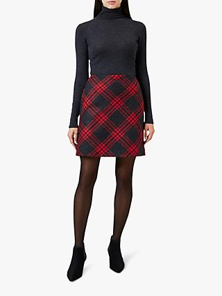 Hobbs Elea Wool Mini Skirt, Red Charcoal