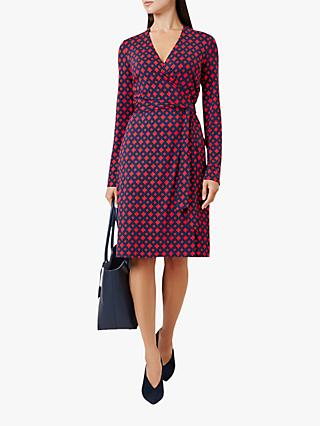 Hobbs Delilah Wrap Dress, Red Navy