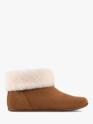 Fitflop Sarah Roll Cuff Boot Slippers, Tumbled Tan Suede