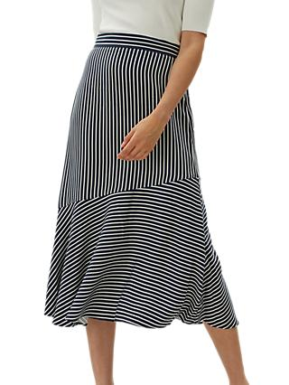 Jaeger Contrast Stripe Skirt, Blue Navy