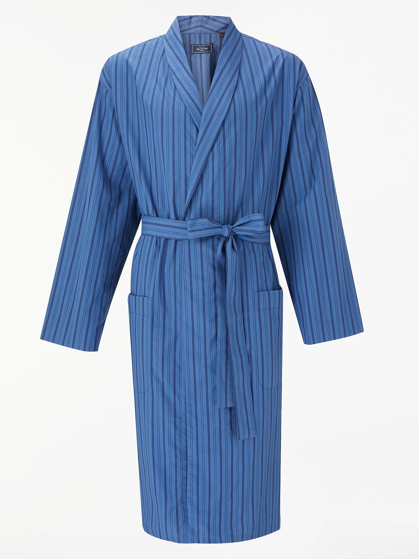 John Lewis Partners Woven Stripe Dressing Gown Blue At John Lewis
