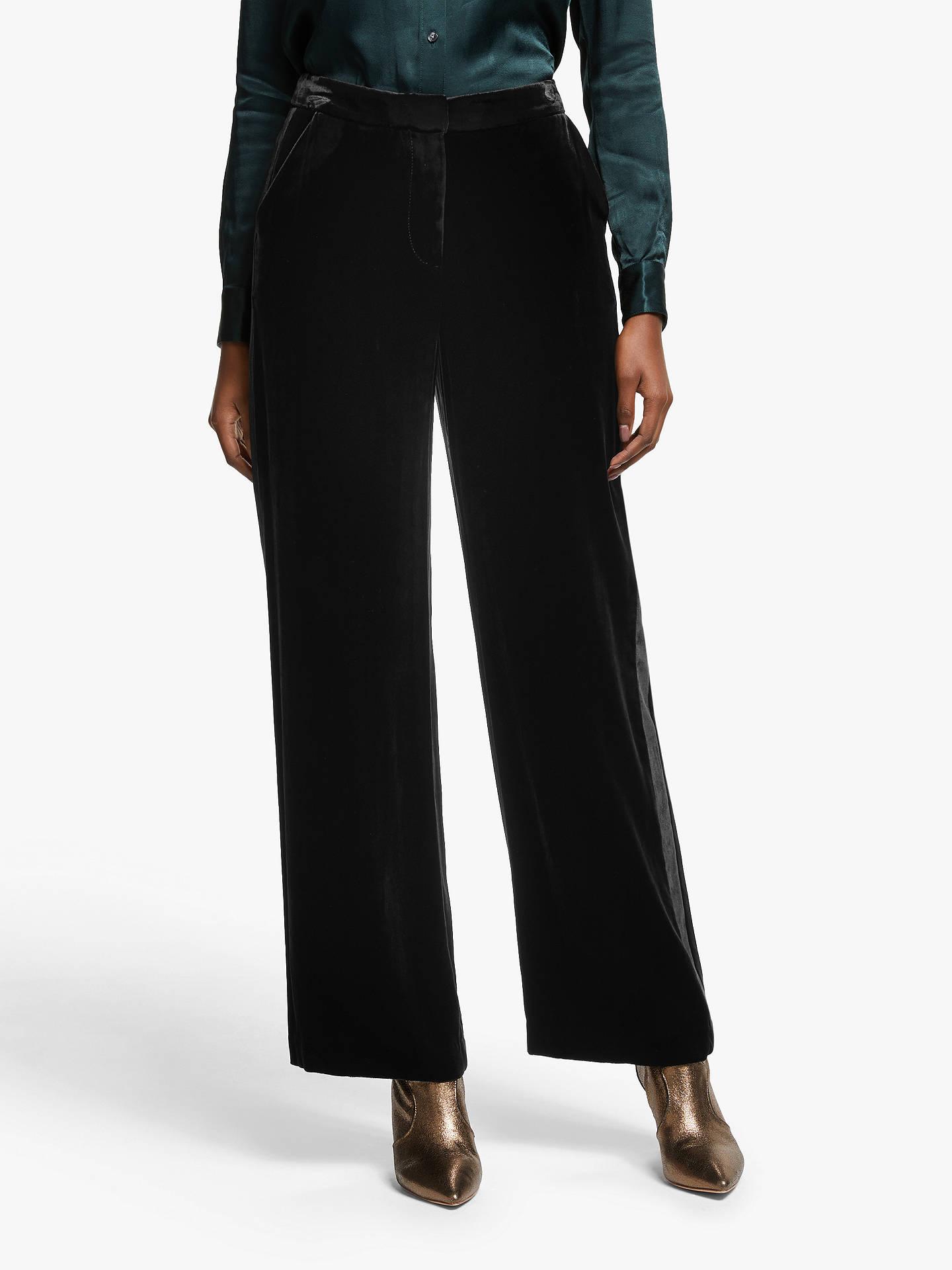8fde38de745ae Buy Boden Selwood Velvet Straight Trousers, Black, 10 Online at  johnlewis.com ...