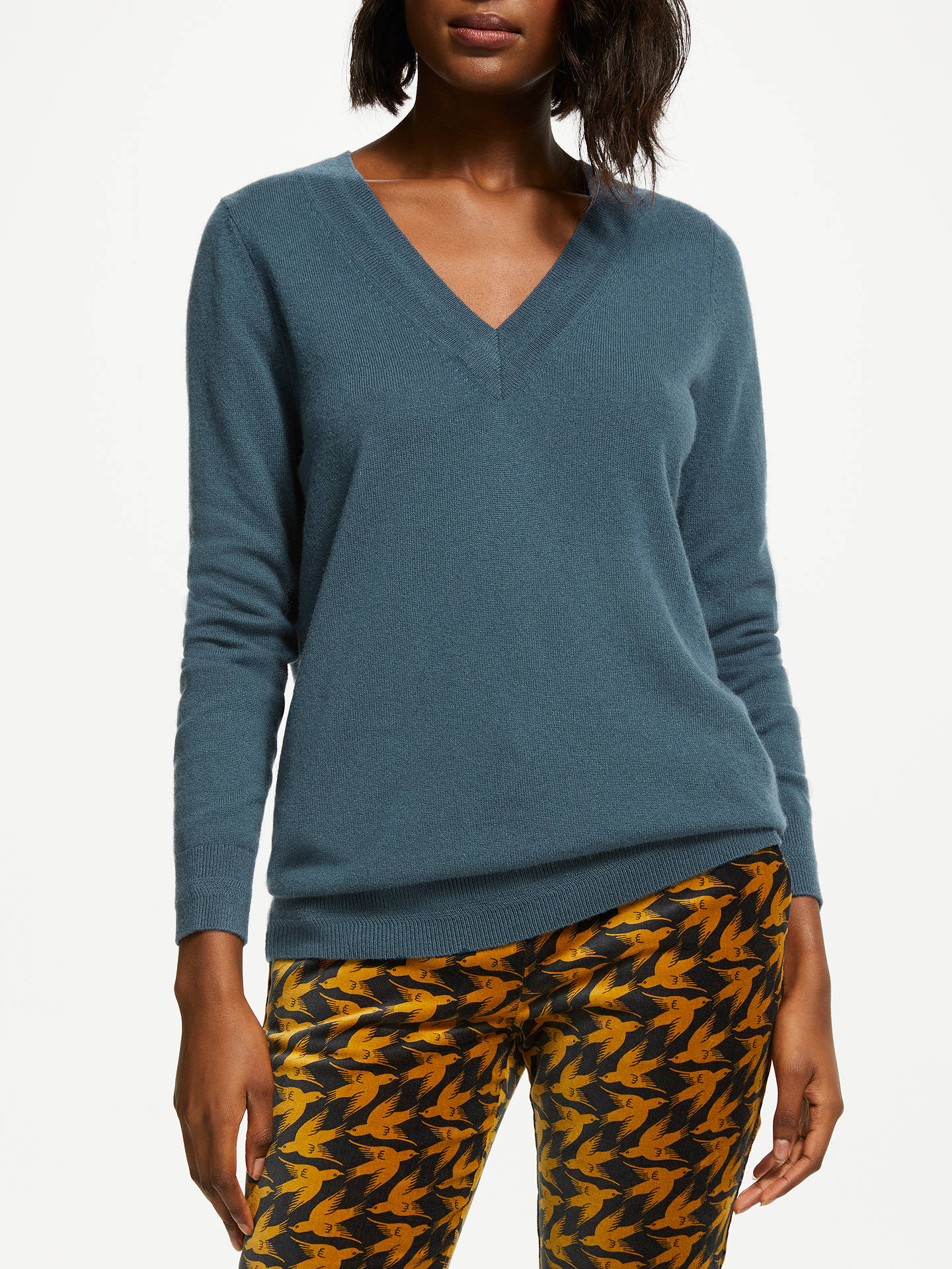 Buy Boden Cashmere V-Neck Jumper, Seaweed, L Online at johnlewis.com