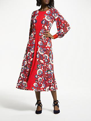 Boden Zoe Jersey Midi Dress, Poinsettia Flourish