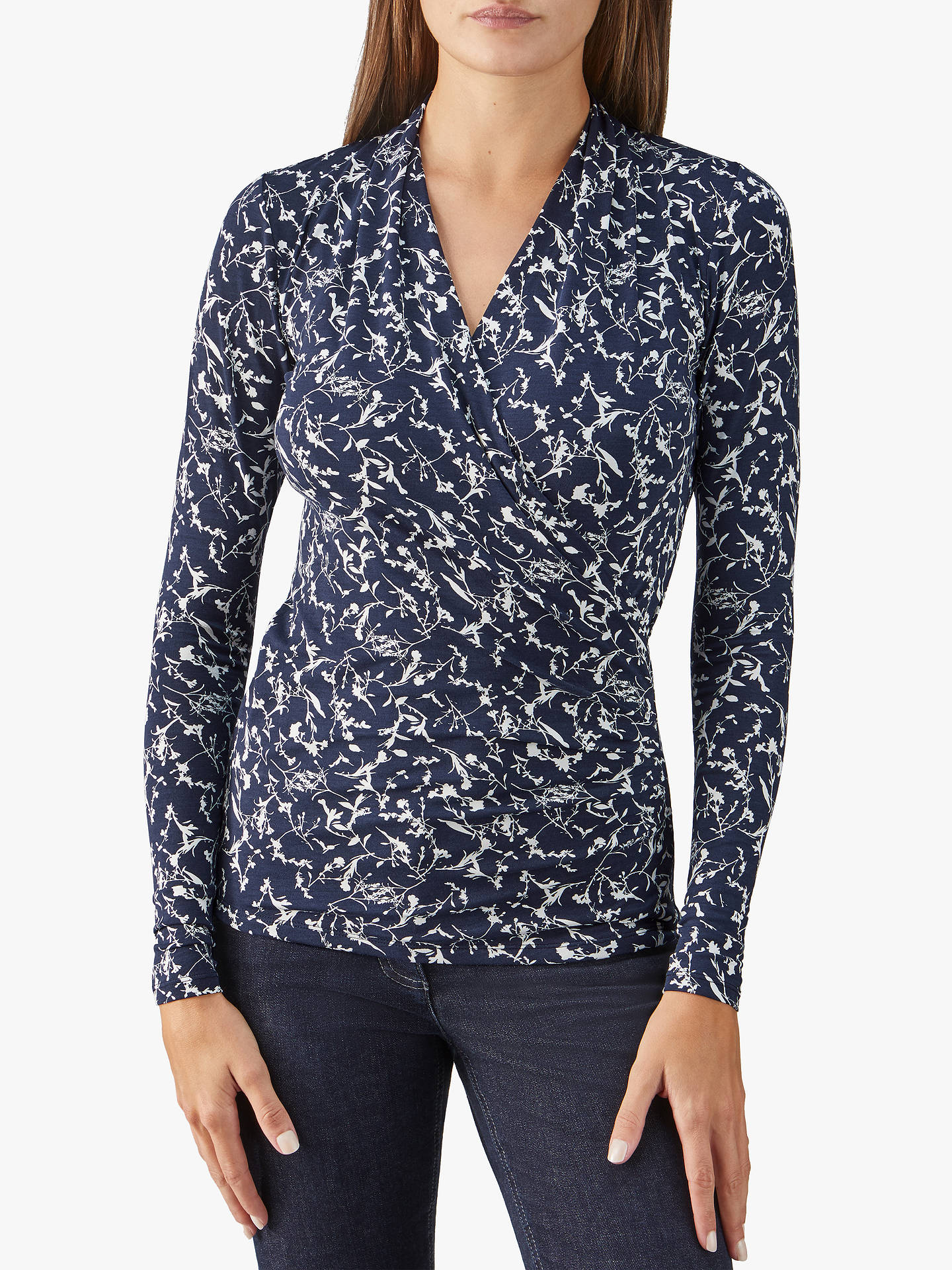 Buy Pure Collection Wrap Jersey Top, Navy, 8 Online at johnlewis.com