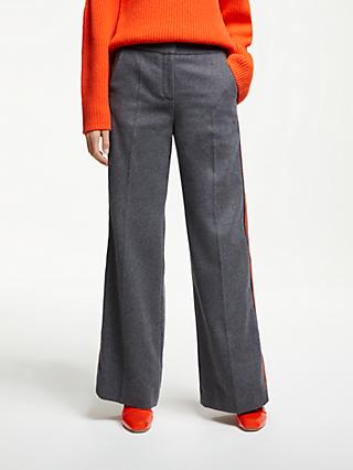 Boden Side Stripe Trousers, Charcoal