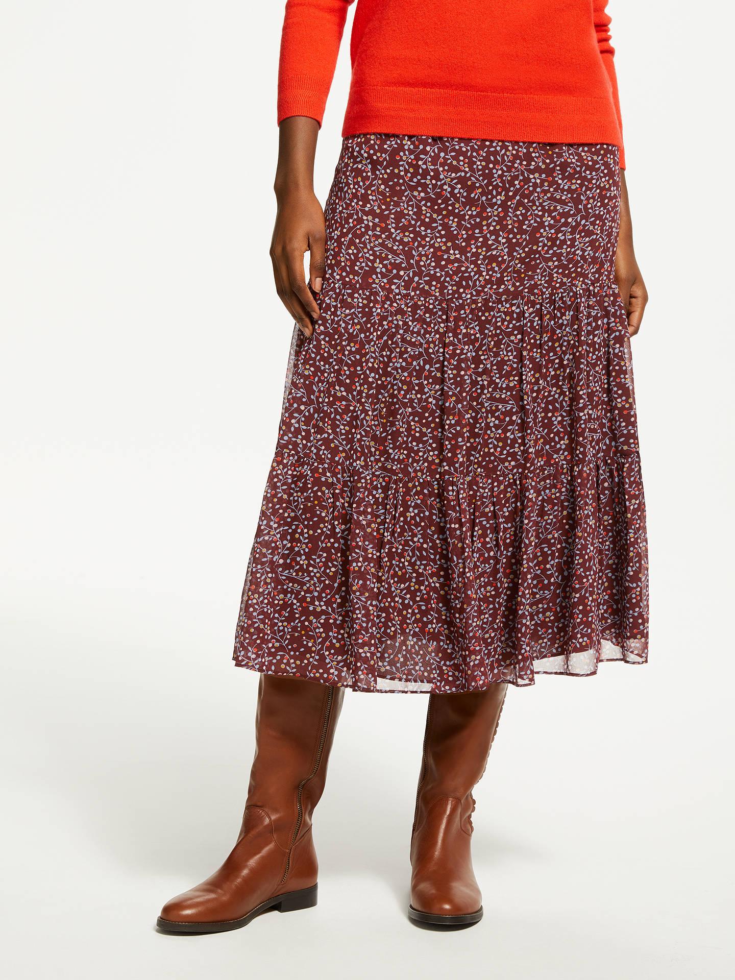 35f0c3094f Buy Boden Frome Floral Print Skirt, Dark Burgundy, 18 Online at  johnlewis.com ...