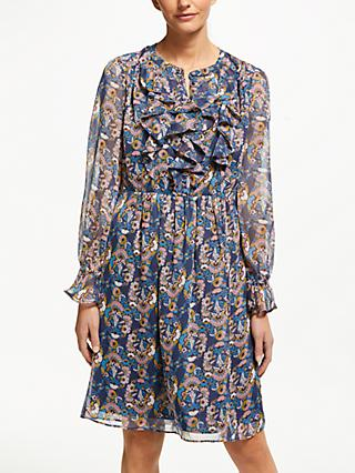 Boden Amalie Floral Print Ruffle Dress, Navy/Flourish Small