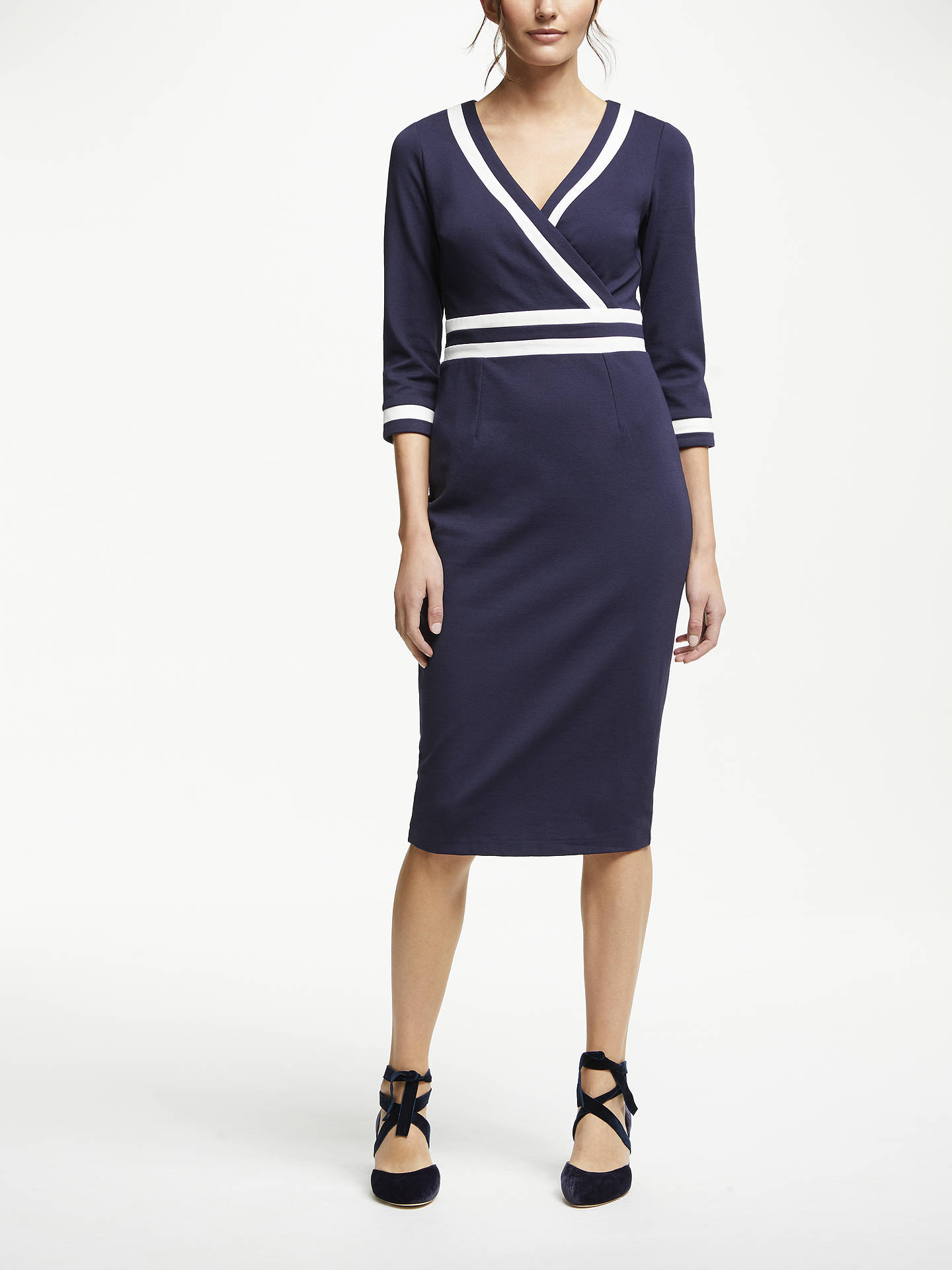 Buy Boden Nellie Ponte Tipped Midi Dress, Navy, 16 Online at johnlewis.com