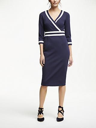 Boden Nellie Ponte Tipped Midi Dress, Navy