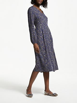 Boden Easy Printed V-Neck Midi Dress, Navy Mystic Woodland