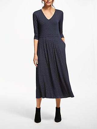 Boden Coraline Jersey Spot Midi Dress, Navy Metallic Spot