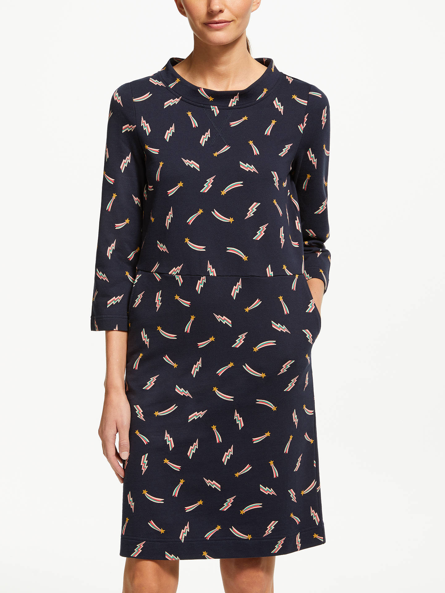 BuyBoden Livia Sweat Dress, Whale Grey Star, 18 Online at johnlewis.com