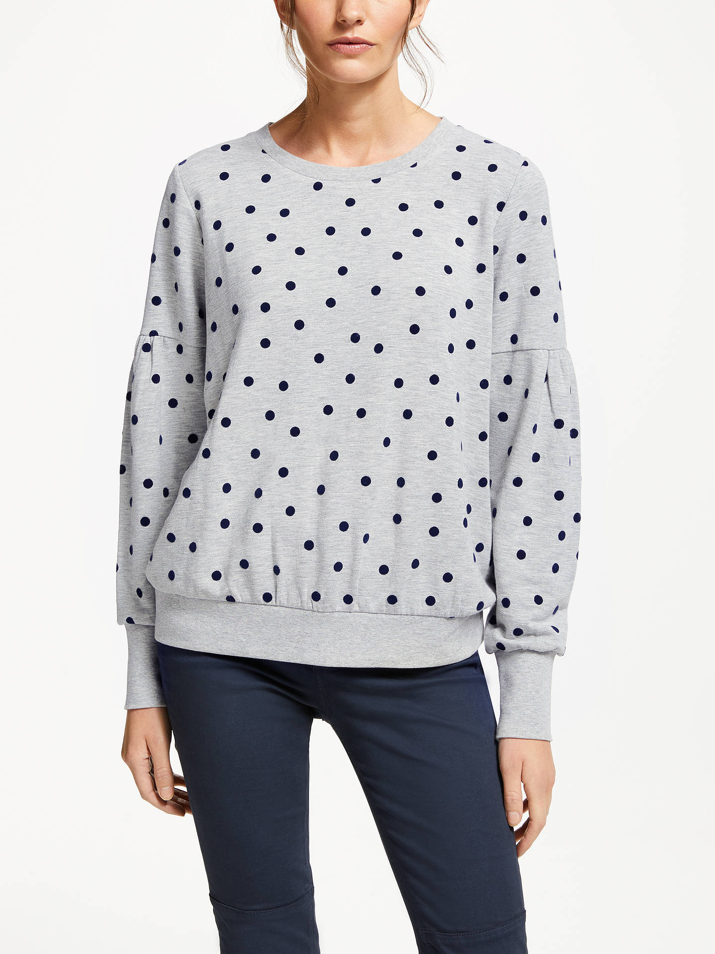 Buy Boden Renee Polka Dot Sweatshirt, Grey Marl Spot, XS Online at johnlewis.com