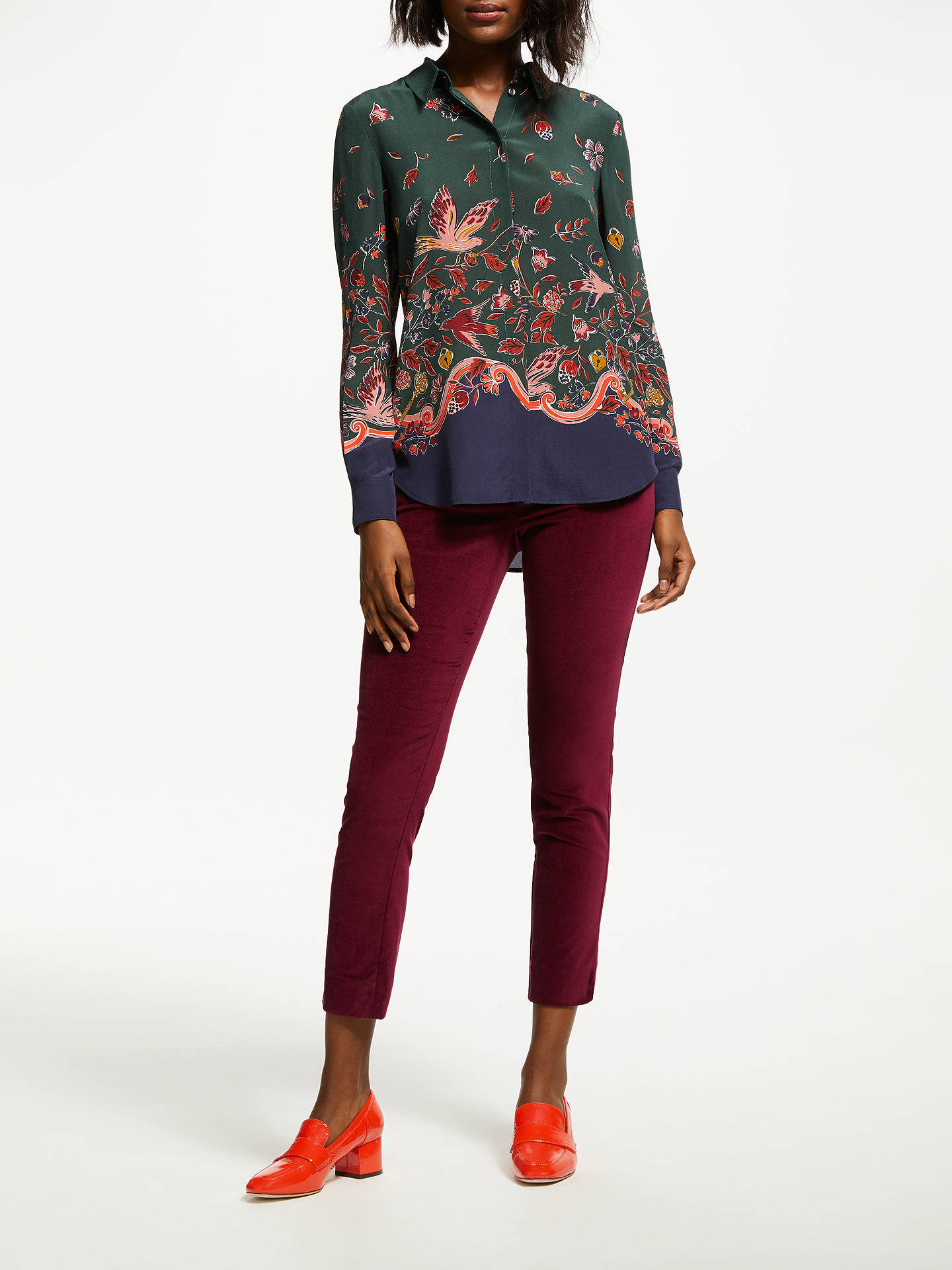 BuyBoden Velvet Straight Trousers, Red Bordeaux, 12 Online at johnlewis.com
