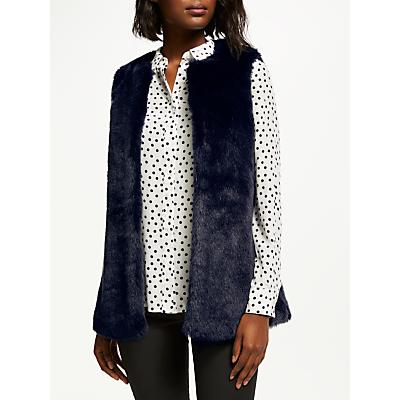 Boden Helston Faux Fur Gilet, Navy Fur