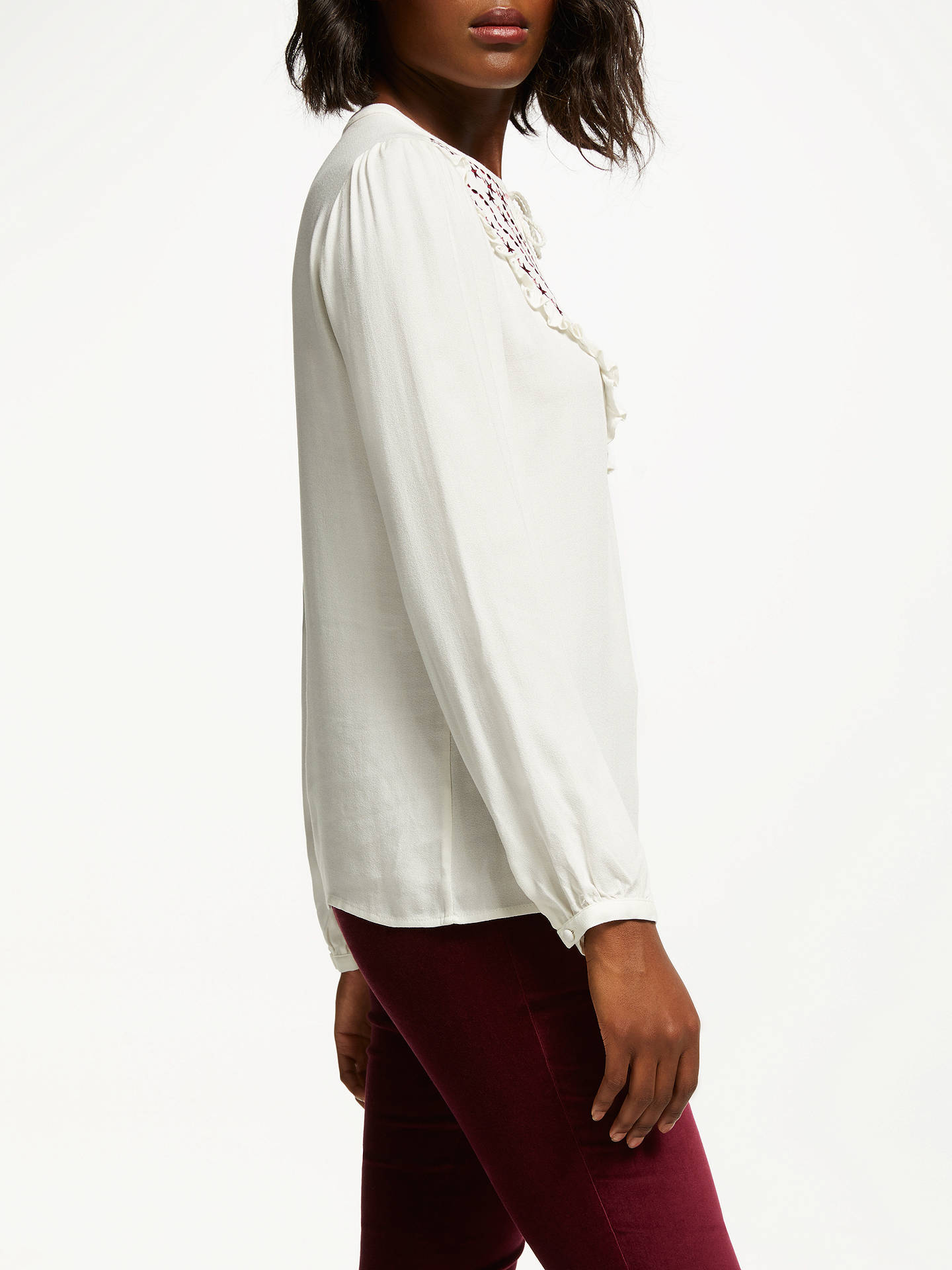 Buy Boden Polly Embroidered Ruffle Top, Ivory/Multi, 16 Online at johnlewis.com