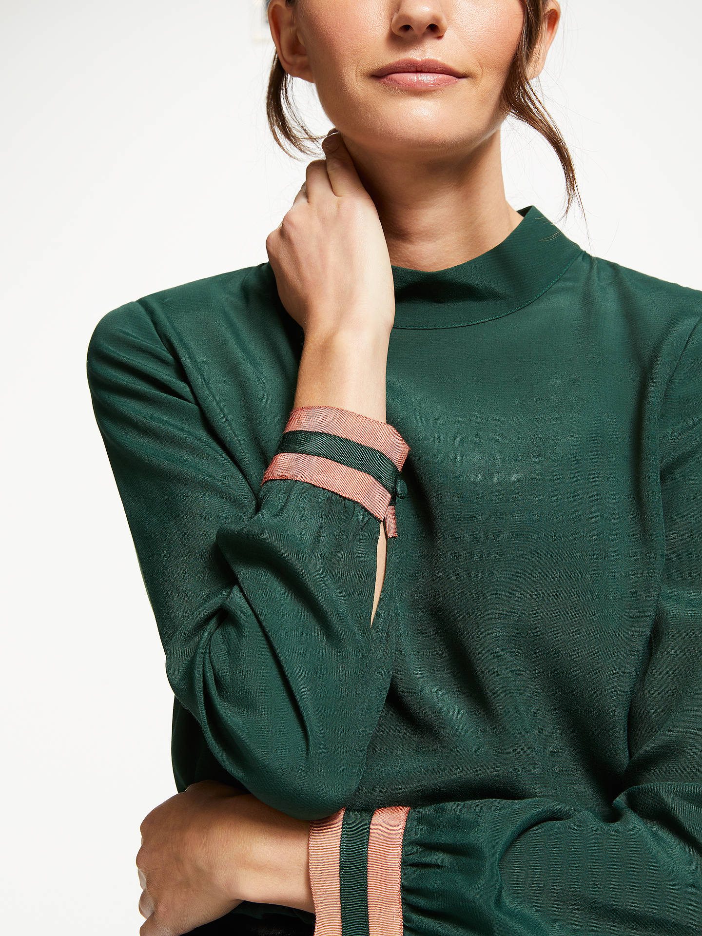BuyBoden Louise Contrast Cuff Top, Chatsworth Green, 16 Online at johnlewis.com