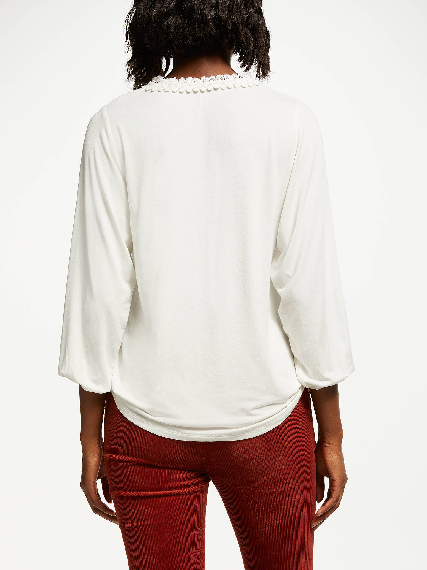 Buy Boden Bea Embroidered Collar Jersey Top, Ivory, 18 Online at johnlewis.com