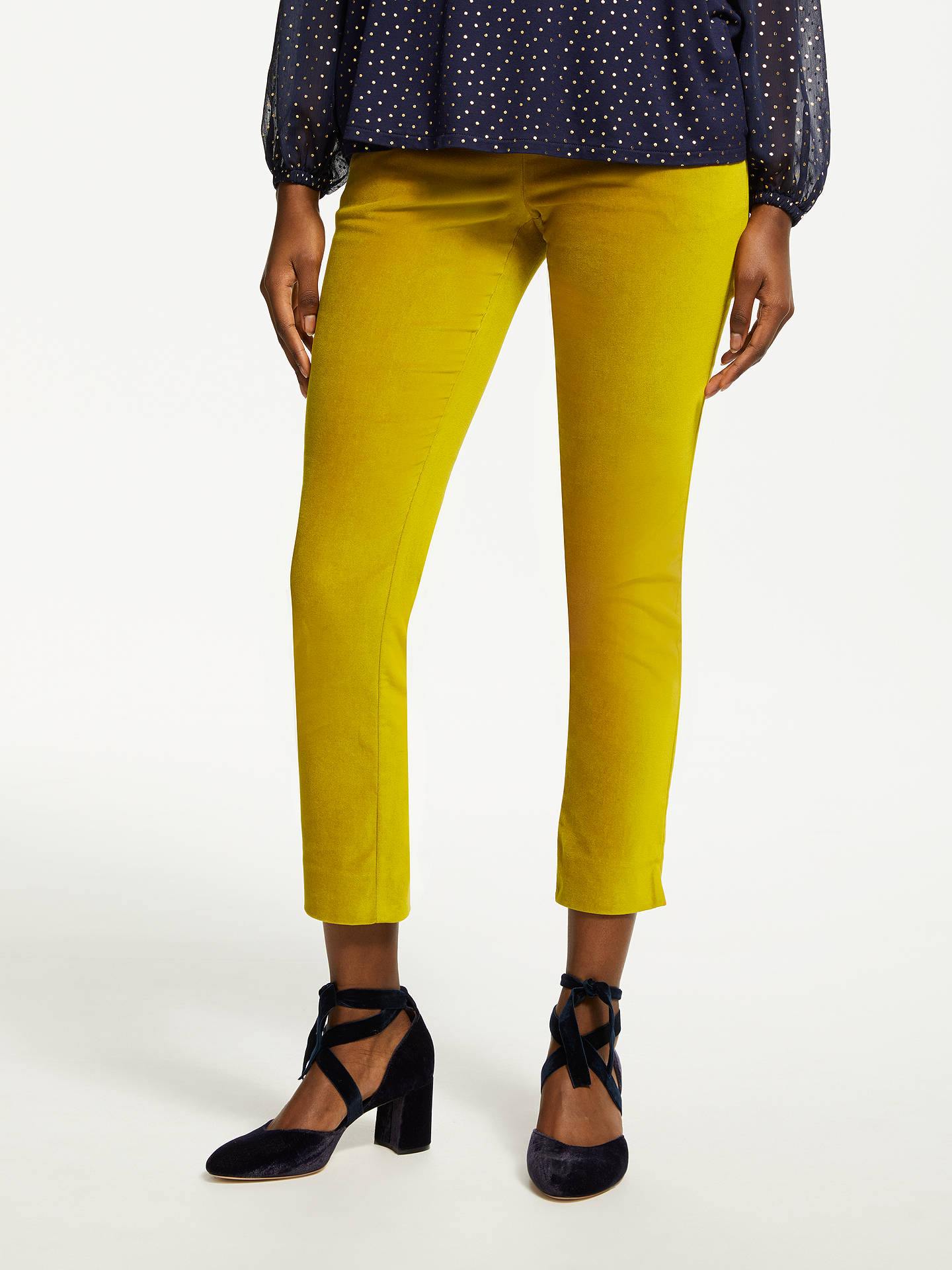 BuyBoden Velvet Straight Leg Trousers, Yellow, 10 Online at johnlewis.com