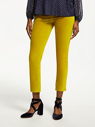 Boden Velvet Straight Leg Trousers, Yellow